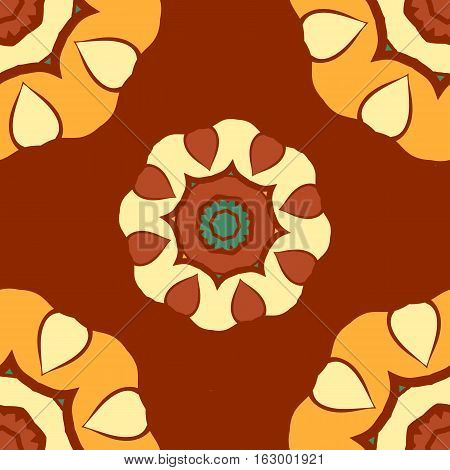 Vintage arabian vector mandala pattern. Hand drawn abstract tile. Decorative retro elements. Wallpaper for banner, invitation, wedding card, cover and others kind of design.