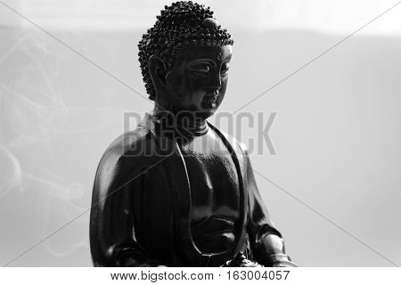 Decorative Buddha Statue, Buddha In The Background Of Incense, Shakyamuni Attained Enlightenment. Th