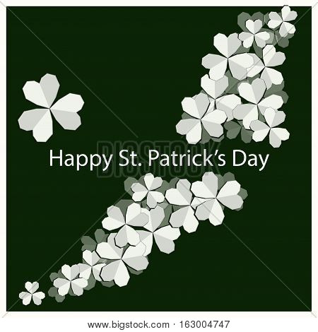 69/5000 card with clover on green background vector on St. Patrick's Day