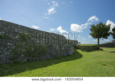 Okinawa Japan - October 23 2016: Nakagusuku Castle Ruins Scenery The famous castle of tourist attraction in Ryukyu kingdom Okinawa Japan.