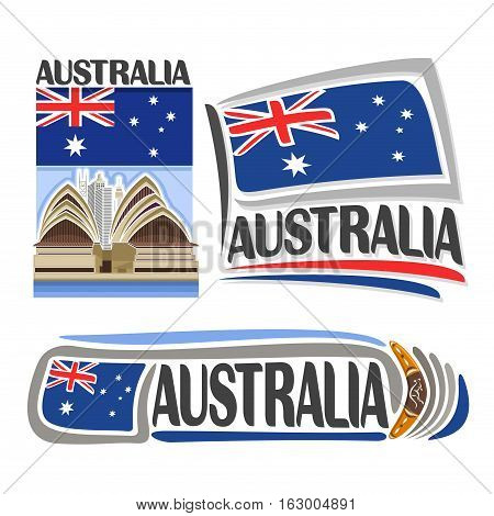 Vector logo Australia, 3 isolated images: vertical banner futuristic opera house on australian national state flag, symbol of australia aboriginal boomerang, minimalistic aussie ensign flags.