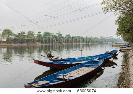 Red river in the north of Vietnam in the rainy season, in Hanoi