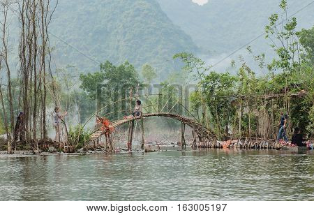 Vietnam, Hanoi - October 22, 2016: Red river in the north of Vietnam in the rainy season, in Hanoi