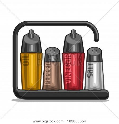 Vector illustration Set glass Shakers for salt and pepper, black holder bottles olive oil and red wine vinegar, classic set containers for condiments, plastic modern rack of shaker with inscription.