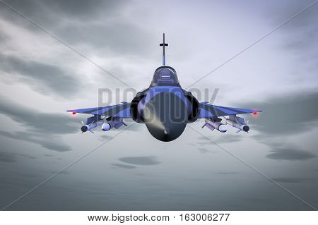 A fight jet high in the sky(3d rendering)