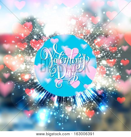 valentines day greeting card with heart shape pattern and handwritten lettering quote, calligraphy vector illustration