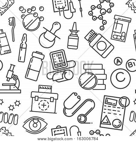 Seamless pattern of icons in outline line art style. Medical care, health and hygiene concept. Outline simple black texture for wallpaper websites, decorating for cards and banners. Vector contour.