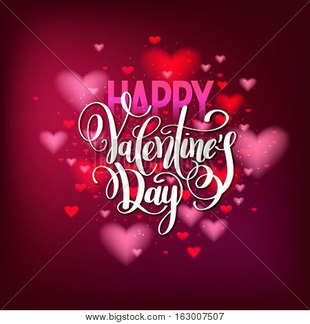 happy valentines day handwritten lettering holiday design with heart shape pattern to greeting card, poster, congratulate, calligraphy text vector illustration eps10