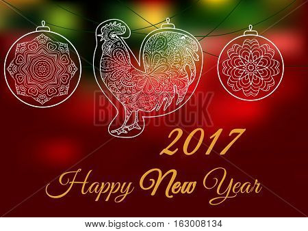 Cock. Ornament on a red and green backgrounds. Symbol 2017. Rooster 2017. Oriental pattern. Christmas balls. Holiday card banner