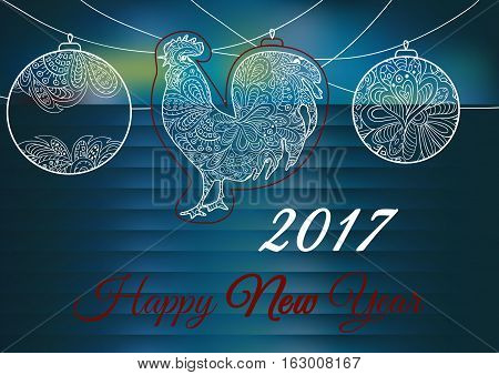 Cock. Ornament on a blue backgrounds. Symbol 2017. Rooster 2017. Oriental pattern. Christmas lights. Holiday card banner