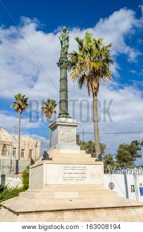 Column of Holy Virgin Mary Stella Maris Madonna statue opposite to Stella Maris Monastery in Haifa Israel