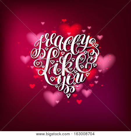 I Really Like You. Love Letter on Heart Shape, Text English Handwriting Calligraphy, Handwritten Vector Illustration Black and White, Happy Valentine's Day, 14 February