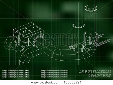 Drawings of structures. Pipes and pipe. 3d blueprint of steel structures. Cover, background for your design