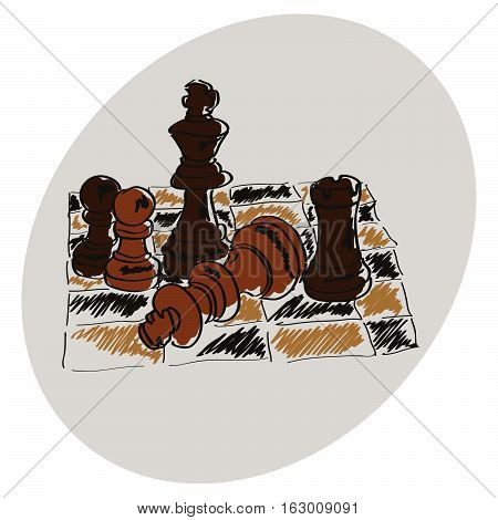 Chess on a chessboard. Brown pattern. Doodle. Hand drawing