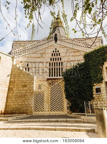 Western facade of the Basilica of the Annunciation or Church of the Annunciation in Nazareth Israel