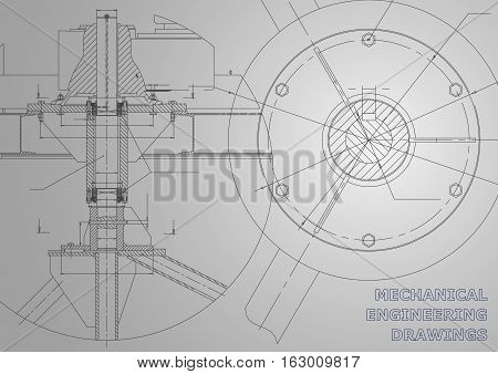 Mechanical engineering drawings. Vector gray background. Corporate Identity