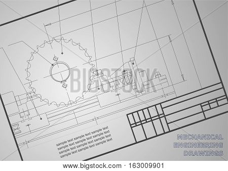 Mechanical drawings on a gray background. Engineering illustration. Vector. Frame. Corporate Identity