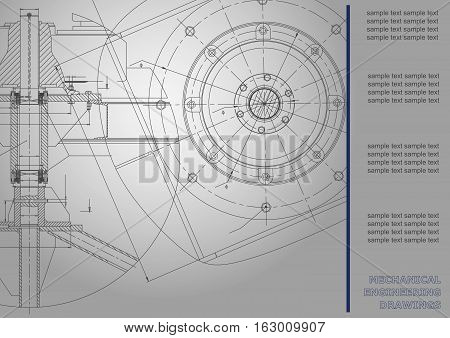 Mechanical engineering drawings. Vector Corporate Identity. Gray