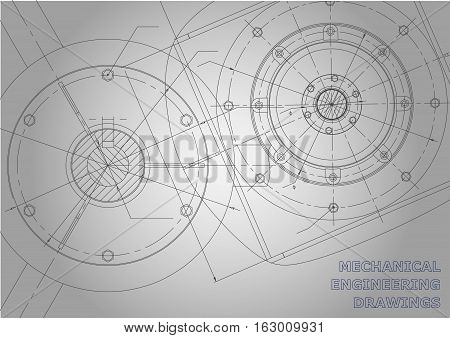 Gray Mechanical engineering drawings. Background for inscription. Vector Corporate Identity
