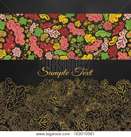 Floral background. doodle card in yellow tones