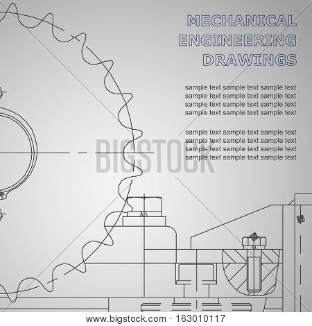 Mechanical engineering drawings on a gray background. Vector. For inscriptions. Corporate Identity