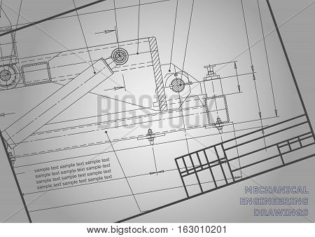 Mechanical engineering drawings on a gray background. For inscriptions. Vector. Frame. Corporate Identity