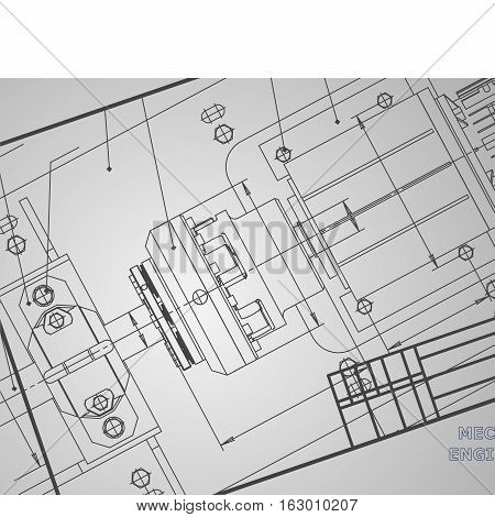 Mechanical engineering drawings on a gray background. Vector. Corporate Identity