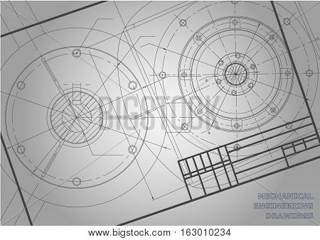 Gray Mechanical engineering drawings. Background for inscription. Vector. Frame. Corporate Identity