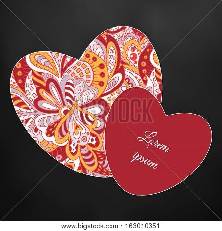 floral doodle ethnic pattern hearts frame rosy black and yellow for inscriptions. Cards
