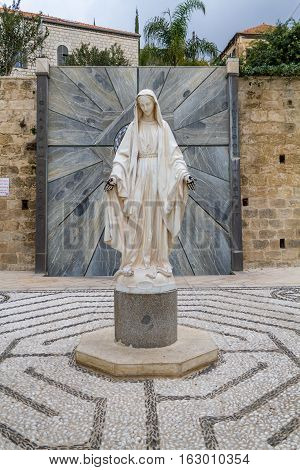 Statue of Virgin Mary in courtyard of the Basilica of the Annunciation in Nazareth or Church of the Annunciation Israel