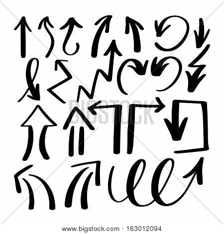set of hand drawing isolated arrows collection on white background for advertising and business presentations, design elements vector illustration