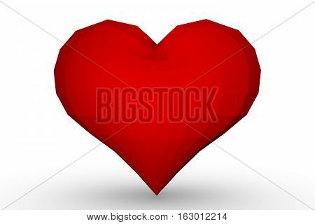 low poly heart on white background 3D illustration