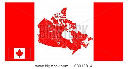 Map of Canada presented as a stylized Canadian flag. The main feature of the map is display rivers and lakes. Map consists of separate maps of provinces and territories which you can use separately. Flag of Canada can also be used separately.