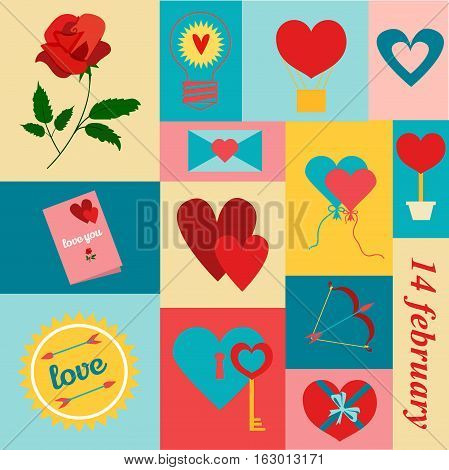Valentines day background with love hearts. Vector illustration valentines symbols romantic decoration love mail with hearts. Wedding shiny romantic day template. Valentines day hearts.
