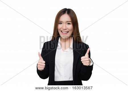 Beautiful young smiling with confident Asian businesswoman thumb up isolated on white background