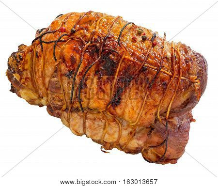 Turkey Meat Roulade Roasted In Oven Isolated On White Background