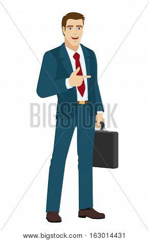 Businessman pointing a finger somewhere. Businessman holding briefcase. Vector illustration.