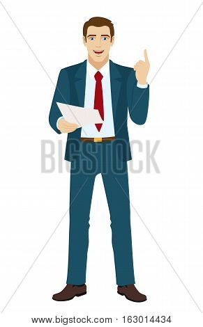 Businessman pointing up. Businessman holding a paper. Vector illustration.