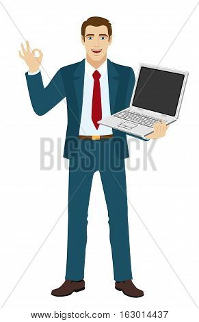 OK! Smiling businessman show a okay hand sign. Businessman holding laptop notebook. Vector illustration.