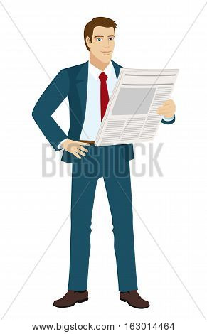 Businessman reading a newspaper. Full length portrait of businessman in a flat style. Vector illustration.
