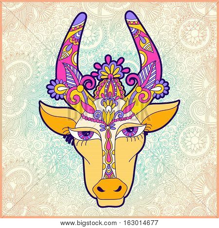 pongal floral paisley pattern with cow to occasion of south Indian harvesting festival holiday design, greeting card, celebration, vector illustration