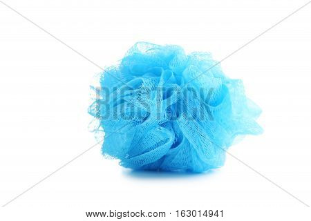 Blue Bath Puff Isolated On A White