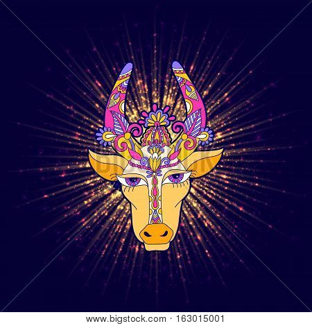 pongal floral shiny star with cow to occasion of south Indian harvesting festival holiday design, greeting card, celebration, vector illustration