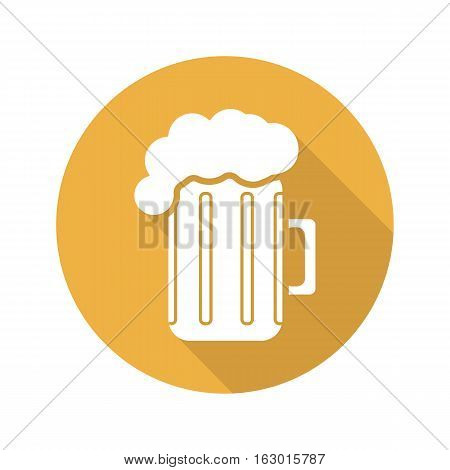 Beer mug flat design long shadow icon. Pub and bar sign. Foamy beer glass. Vector silhouette symbol