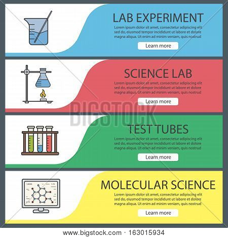 Science laboratory banner templates set. Easy to edit. Beaker with rod, molecular science, ring stand with flask, test tubes. Website menu items. Color web banner. Vector headers design concepts