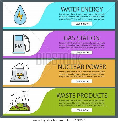 Environment pollution banner templates set. Easy to edit. Water energy, gas station, nuclear power plant, rubbish dump. Website menu items. Color web banner. Vector headers design concepts
