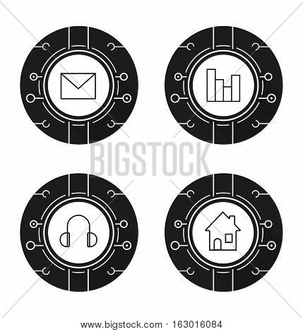 Cyber technology icons set. Music, statistics, email and smart house concepts. Letter, headphones, chart and home. Vector white illustrations in black circles