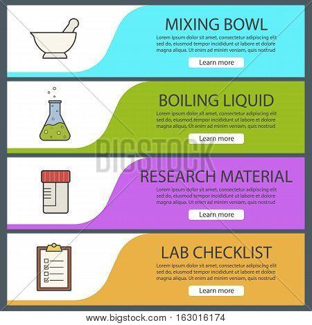 Laboratory banner templates set. Easy to edit. Mortar and pestle, medical tests jar, boiling liquid, lab checklist. Website menu items. Color web banner. Vector headers design concepts
