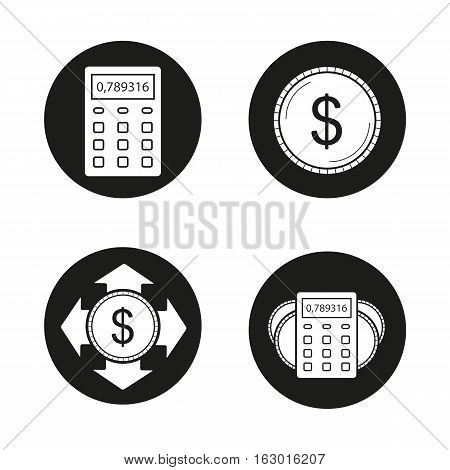 Banking and financial planning icons set. Calculator, us dollar coin, money spending, income calculations. Vector white silhouettes illustrations in black circles