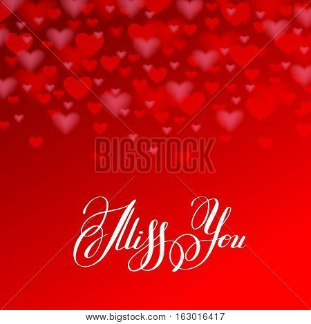 miss you inscription hand lettering on red heart shape background, calligraphy greeting card, vector typography illustration